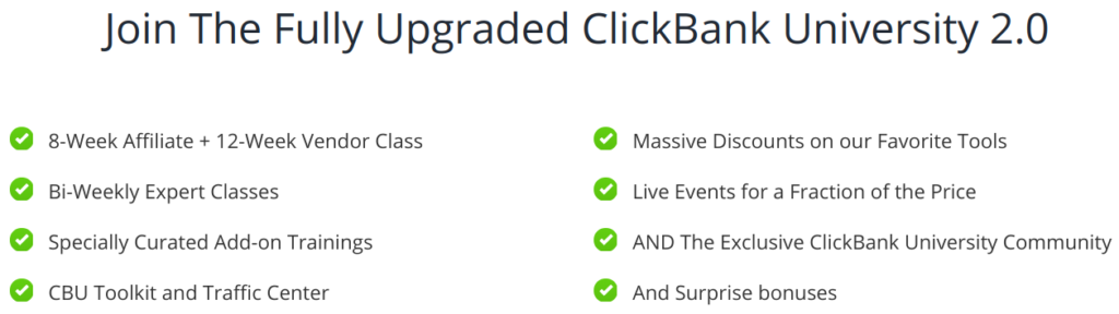 What's included in the ClickBank University