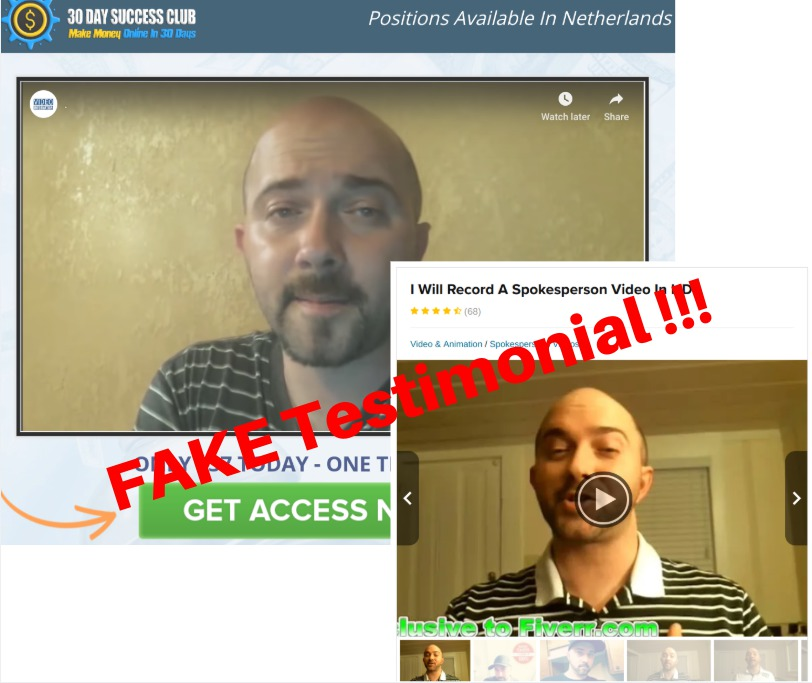 FAKE Testimonial Used to Sell 30 Day Success Club
