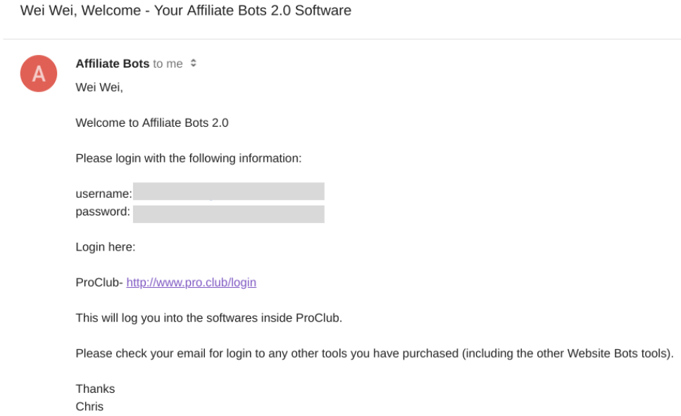 Confirmation email from Affiliate Bots 2.0