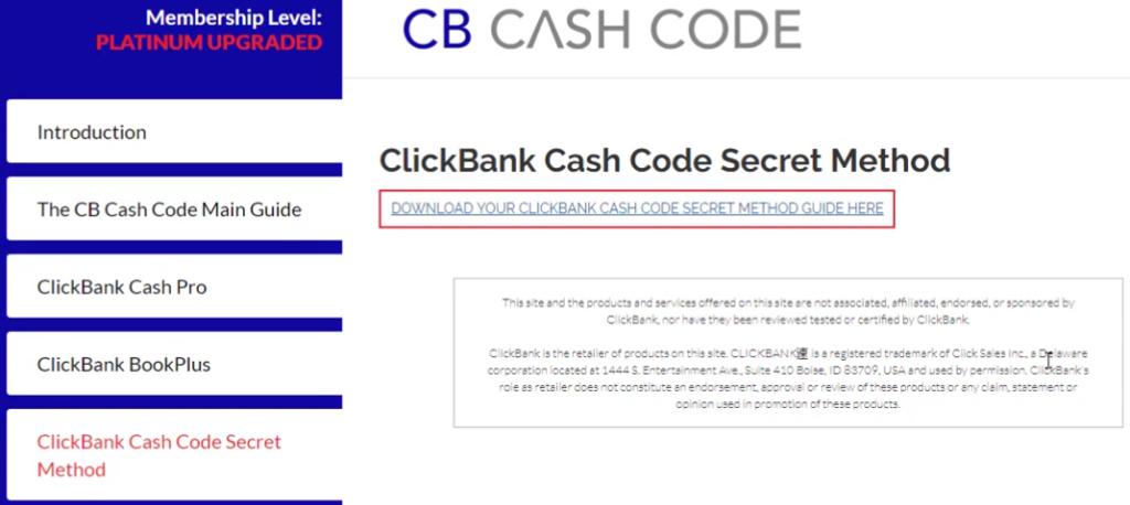 Member's area of CB Cash Code