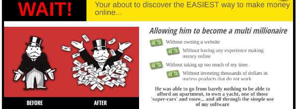 False claims of making huge amount of money with Easy Cash Club