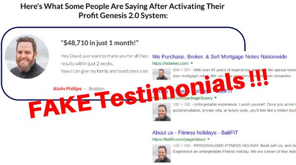 Fake testimonials of Profit Genesis 2.0
