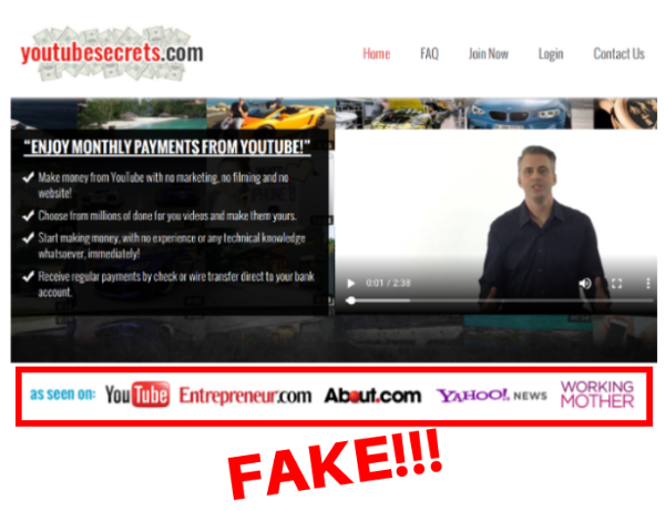 Fake Credentials of YouTube Secrets