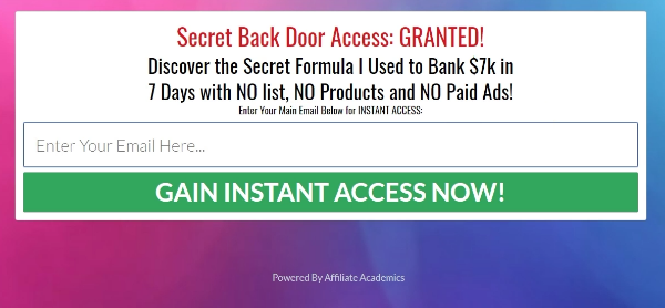 The automatically generated landing page of Affiliate Funnel Clones