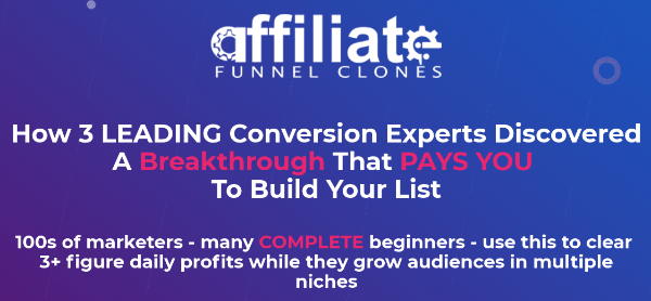 The sales page of Affiliate Funnel Clones