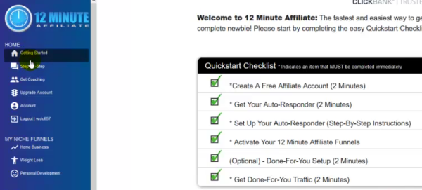 Quickstart Checklist of 12 Minute Affiliate