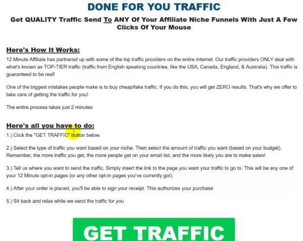 Paid traffic inside 12 Minute Affiliate