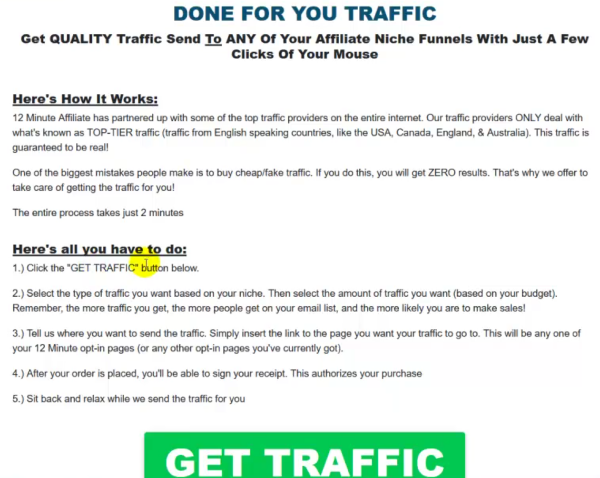 Paid traffic inside 12 Minute Affiliate