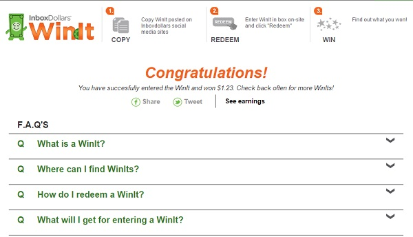 Inboxdollars WinIt Redeem Codes