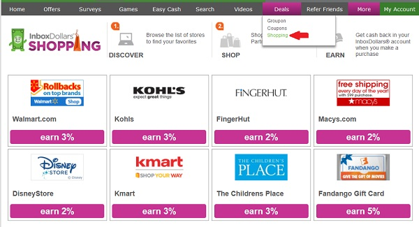 Inboxdollars Get Cashback for Shopping cashback ranging from 1.5% to 4% depending on the store.