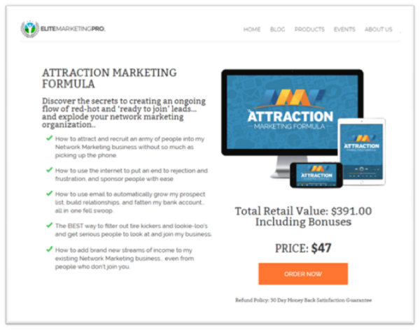 Attraction Marketing Formula Review product website