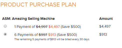 Amazing Selling Machine Scam price