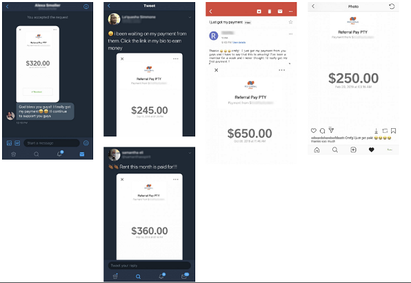 Referral Pay Scam fake payment proof