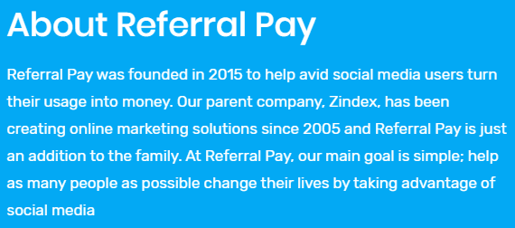 Referral Pay Scam about page