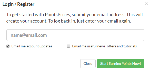 PointsPrizes Review: signup