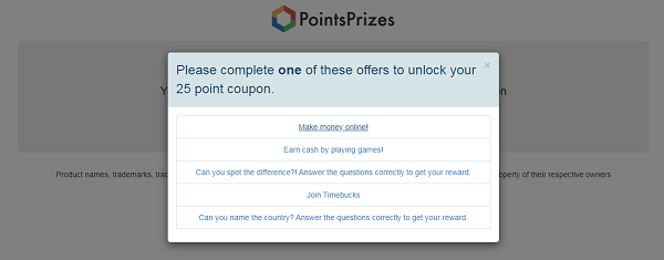 PointsPrizes Review: unlock coupons