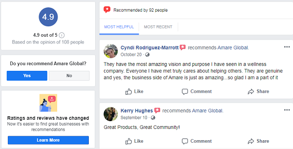 Is Amare Global Scam? facebook page