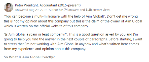Is Aim Global A Scam? Quora Review