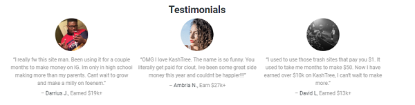 What Is Cash4clickz - fake testimonials from kashtree
