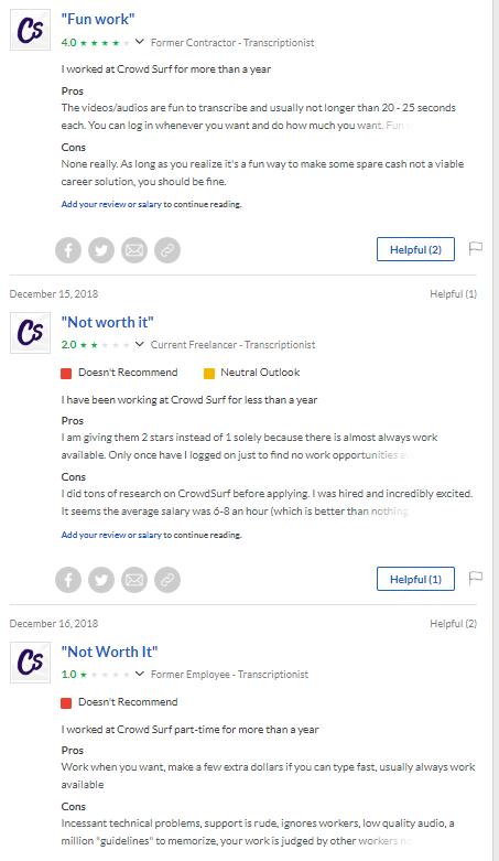 Crowdsurf Transcription Review - Glassdoor