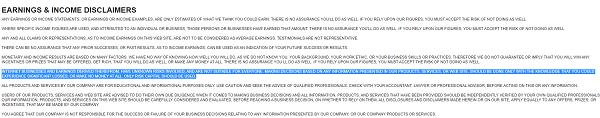 Is Millionaire Biz Pro Scam? disclaimers